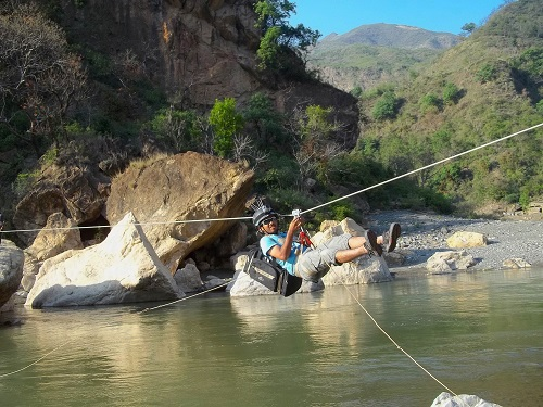 River ziplining in Addo